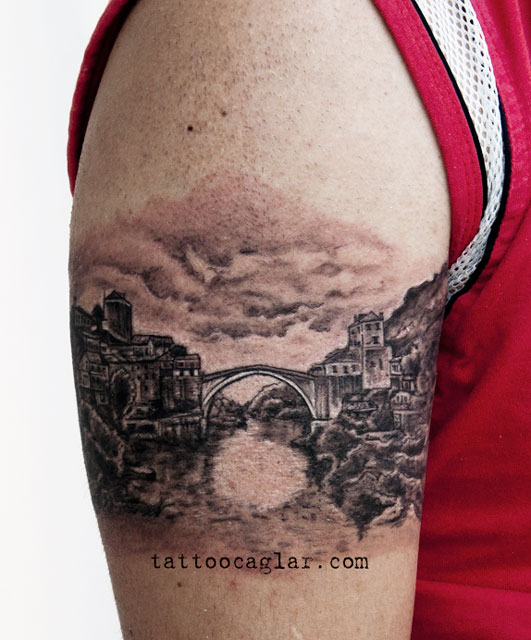 mostar koprusu bridge tattoo caglar