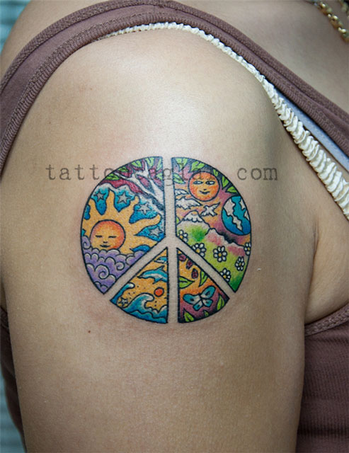 renkli peace nature sun  tattoo zone ankara