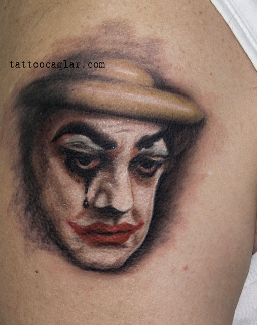 sad clown palyaco tattoo zone ankara